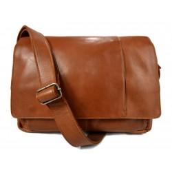 Sac à bandoulière en cuir notebook sac homme femme sac d'épaule messenger miel