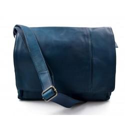 Genuine italian leather shoulderbag notebook messenger bag ipad laptop ladies men blue