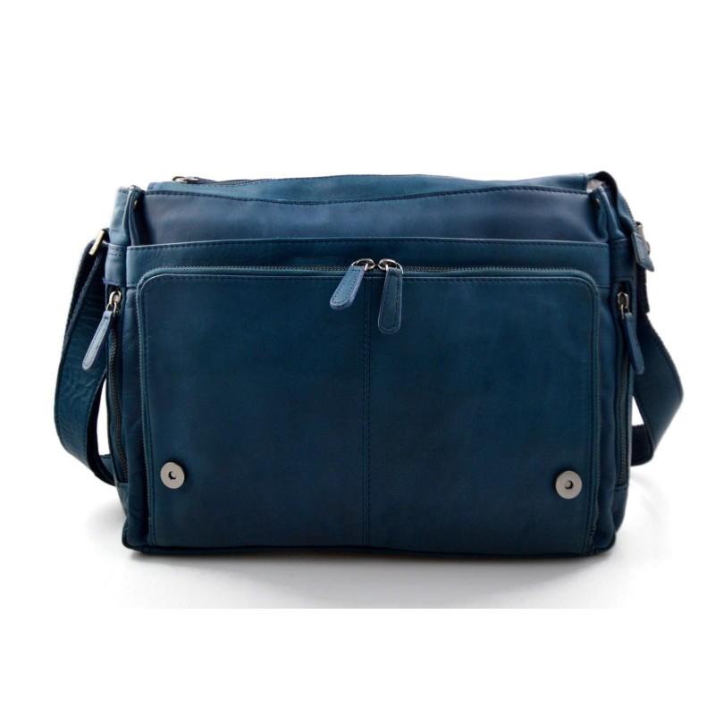 500da09f51153 Herren Notebook Tasche Messenger Damen Tablet Leder Blau 80Nvmnw