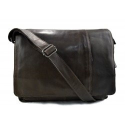 Genuine italian leather shoulderbag notebook messenger bag ipad laptop ladies men dark green