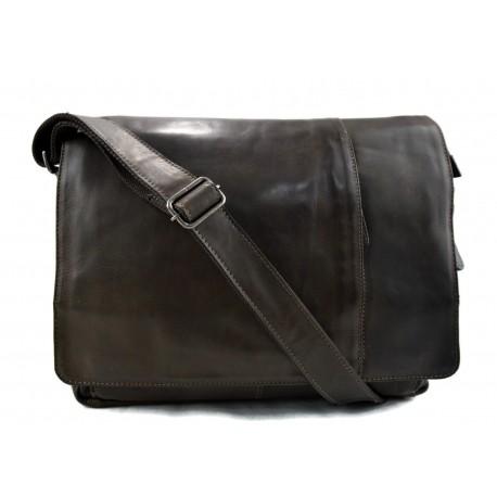 ba91409517 Nouveau Sac à bandoulière en cuir notebook sac homme femme sac d'épaule  messenger vert foncè