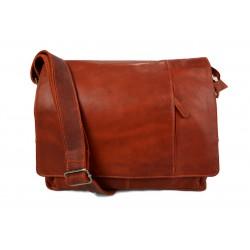 Genuine italian leather shoulderbag notebook messenger bag ipad laptop ladies men orange