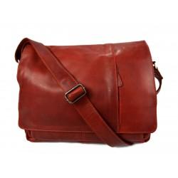 Genuine italian leather shoulderbag notebook messenger bag ipad laptop ladies men red