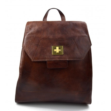 Backpack leather womens travel bag leather weekender sports bag gym bag leather brown