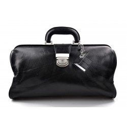 Leather doctor bag messenger handbag ladies men leatherbag briefcase vintage black