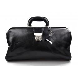 Leather doctor bag messenger handbag ladies men leatherbag briefcase vintage black