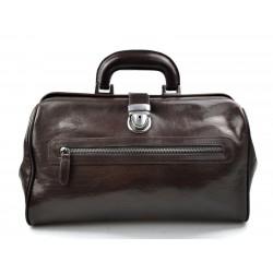 Doctor bag brown leather handheld handbag ladies men leatherbag