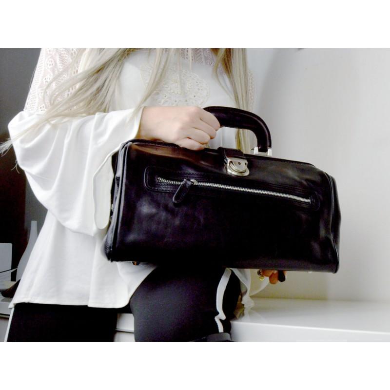 f24f7bd1e612 Leather doctor bag medical bag handbag ladies leather bag black